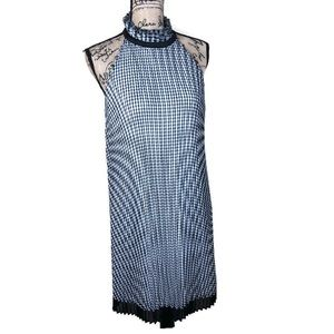 WHBM Gingham Halter Pleated Shift Dress NWT 12